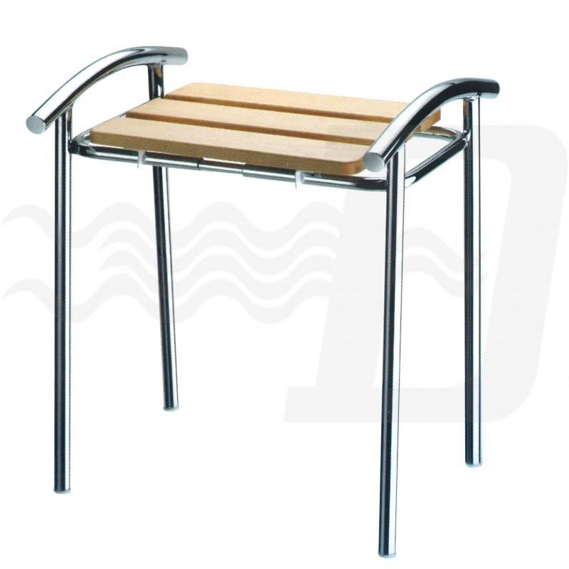 Sgabello da bagno per disabili e terza et in legno e acciaio cromato - Sgabello legno bagno ...